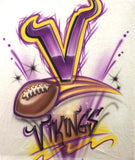 Airbrushed Vikings Football T-Shirt