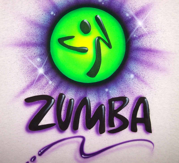 2 Sided Zumba Themed Personalized Airbrushed Shirt