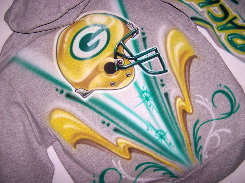 Green Bay Packers Custom Airbrushed Sweatshirt or Hoodie