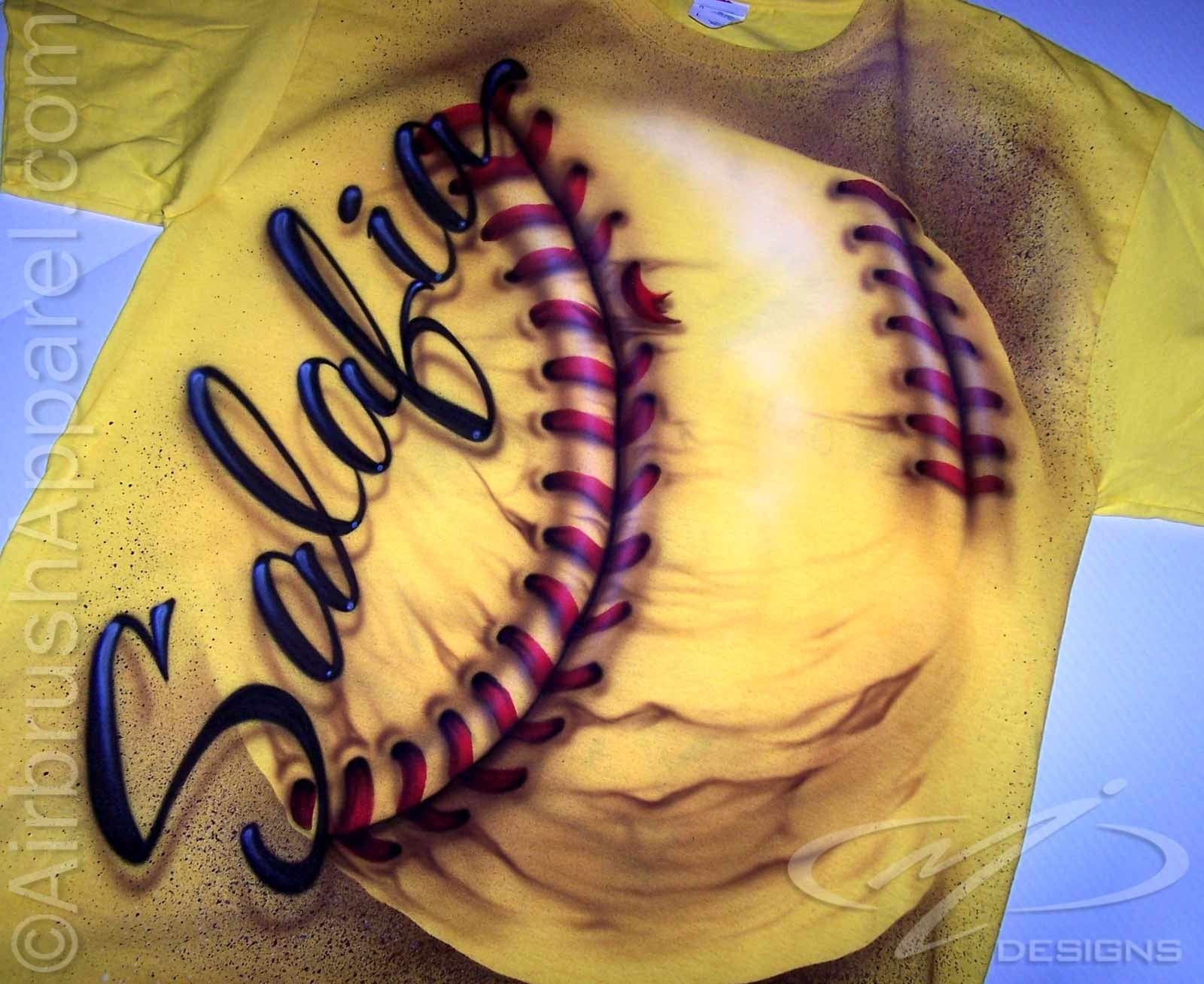 Custom airbrushed big softball personalized t shirt for Custom made airbrushed shirts