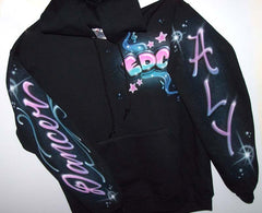 Full Custom Airbrushed Dance Theme Black Sweatshirt or Hoodie