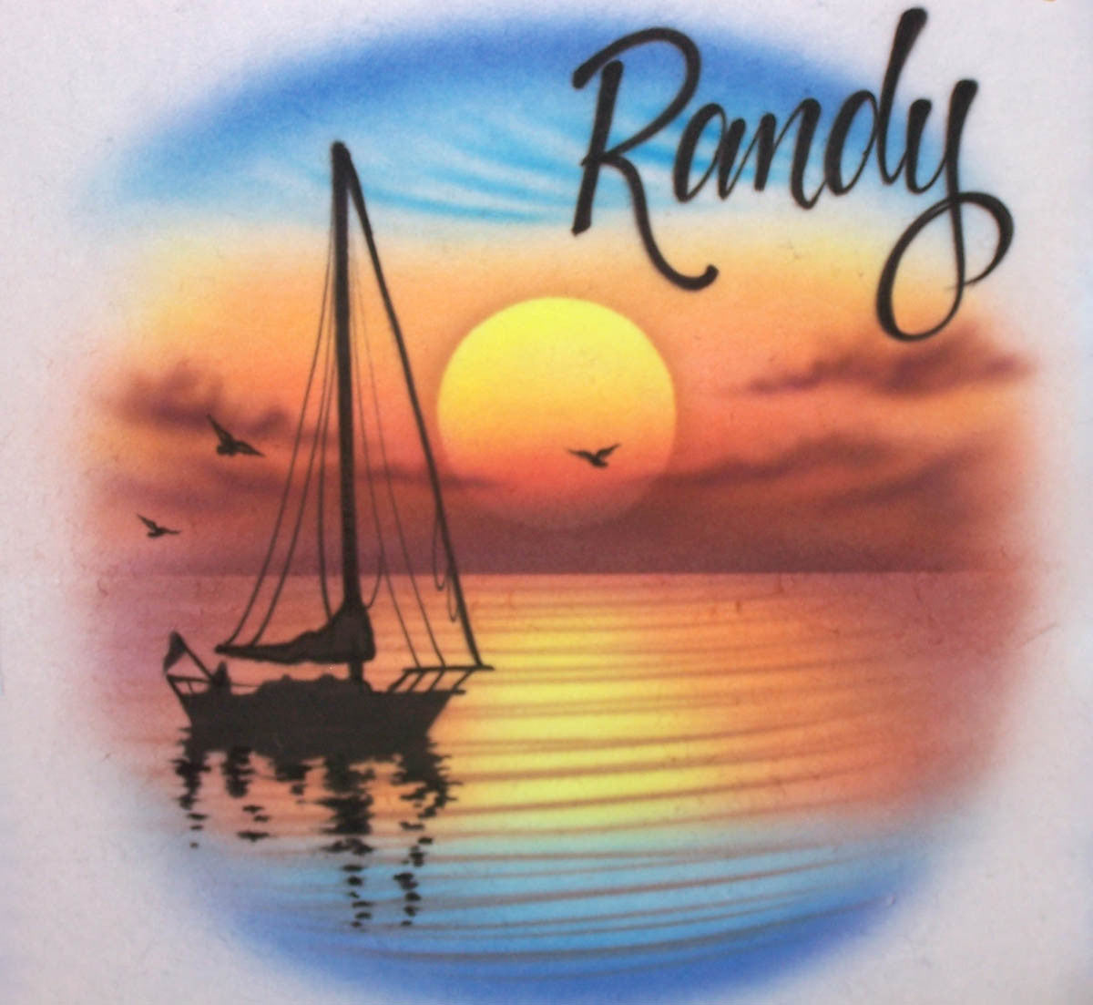 Airbrushed sailboat and sunset personalized shirt