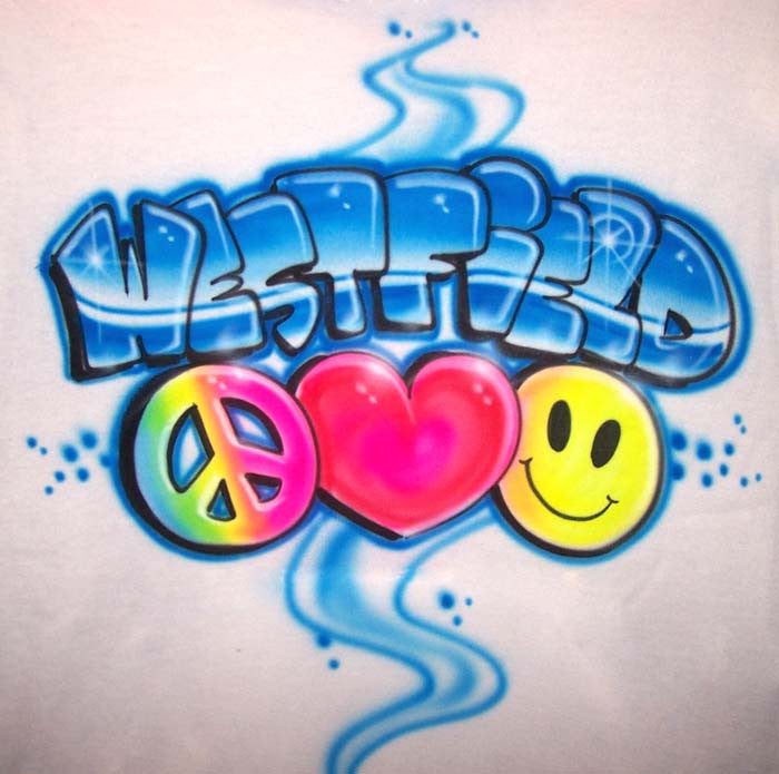Airbrushed Peace Love & Smiley School or Camp Name Design for Your Shirt