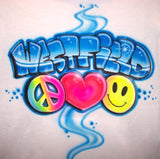Peace Love Happy face Airbrushed School Camp Shirt