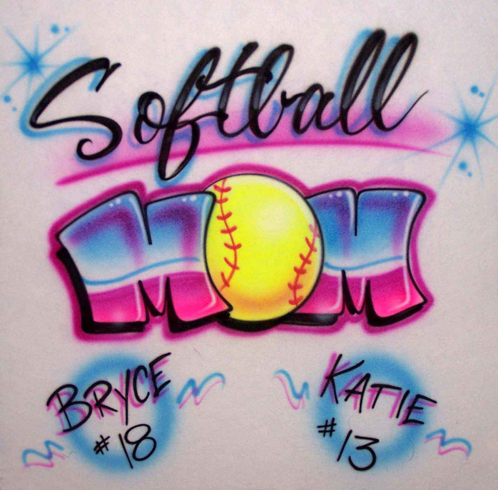 Airbrushed Softball Mom Shirt Design with Kids Names & #'s