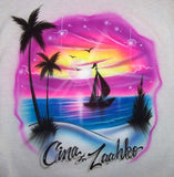 Airbrushed sunset palm tree & sailboat t-shirt
