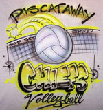 Airbrushed volleyball t shirt personalized team design