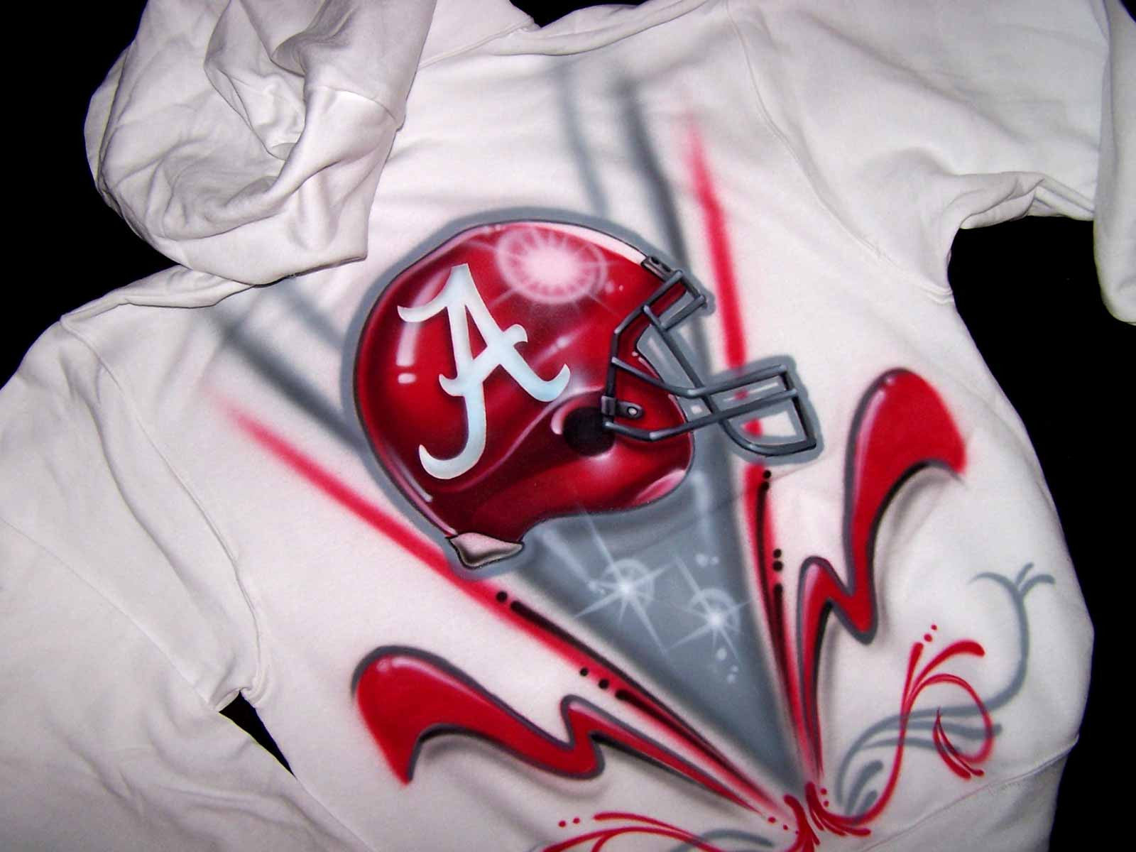 Airbrushed Alabama Crimson Tide Custom Hooded Sweatshirt