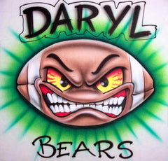 Angry Football Face Airbrushed Custom Shirt