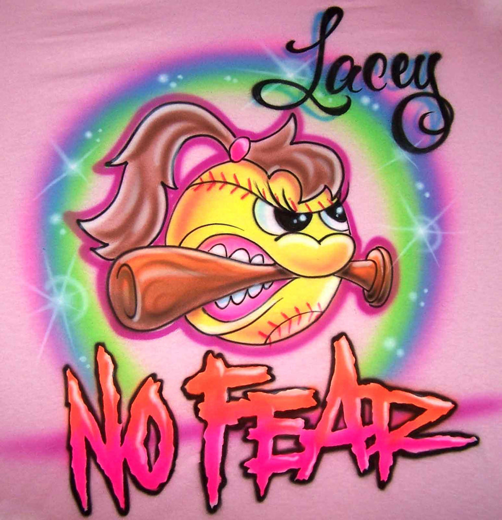 Airbrushed No Fear Angry Softball Girl Biting Bat Custom Shirt