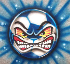 Angry face Soccer Ball Airbrushed Personalized Shirt