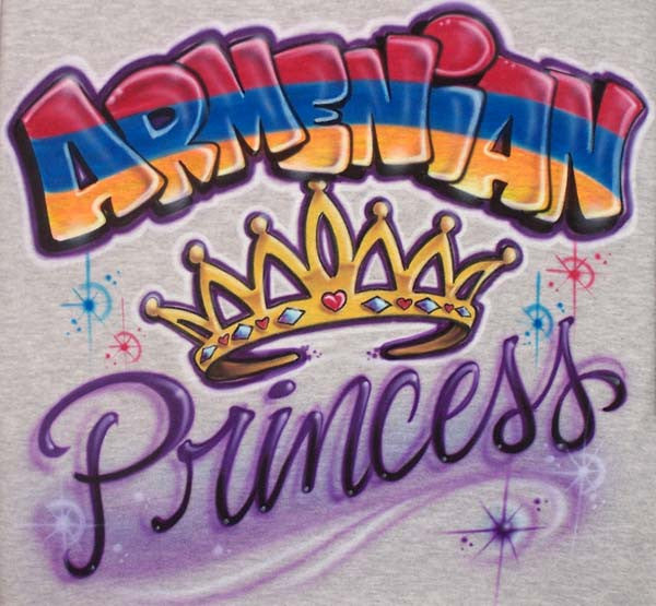 Armenian Princess with Crown Custom Airbrushed Shirt