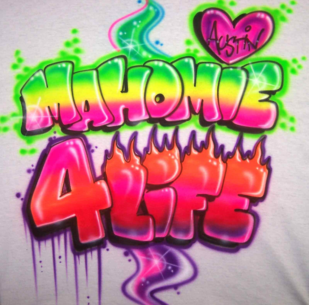 "Austin Mahone Airbrushed ""Mahomie"" 4 Life Shirt in Neon Colors & Flames"