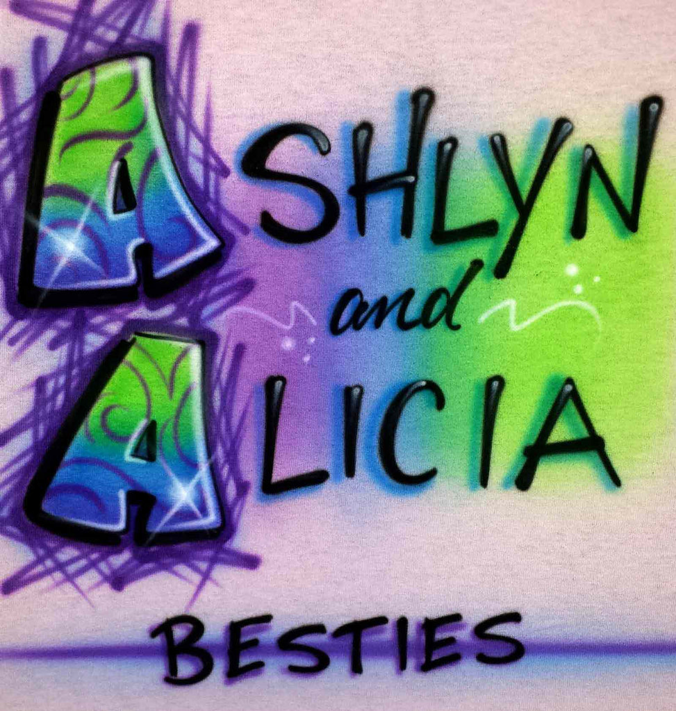 Airbrushed Besties BFF Personalized Friends Double Name Shirt