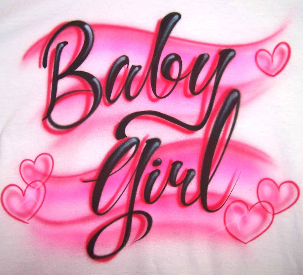 Baby Girl with Hearts Airbrushed Tee or Sweatshirt