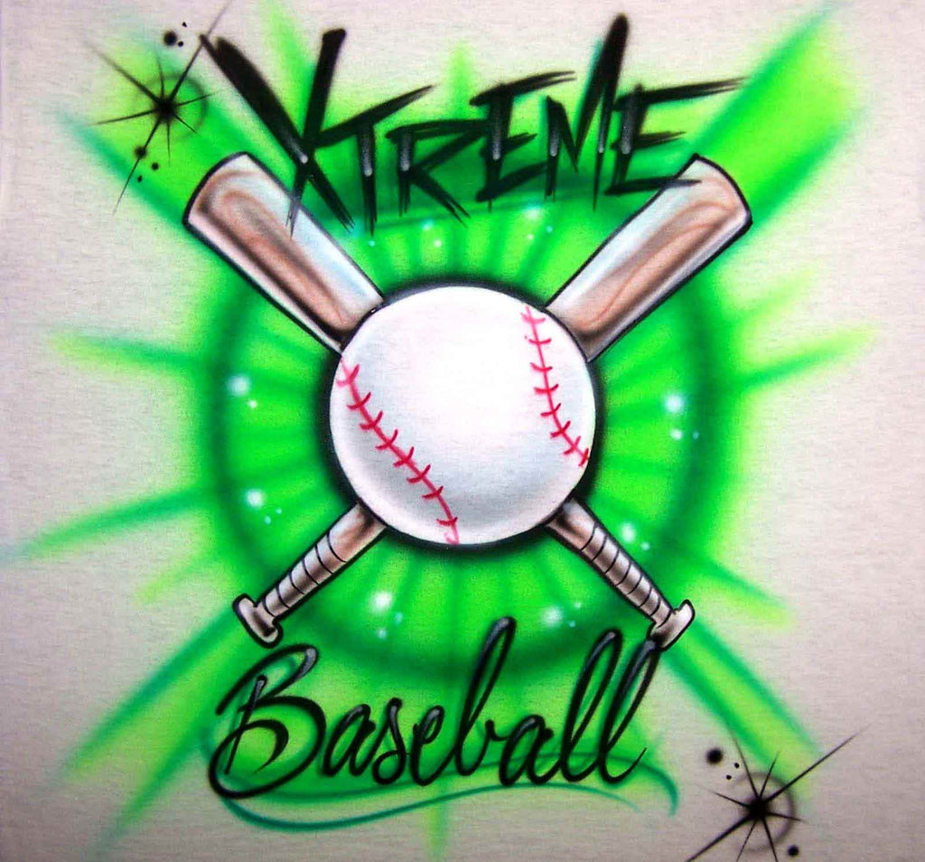 Airbrushed Baseball & Bats Personalized Team Shirt