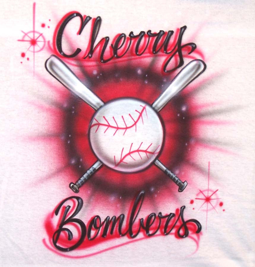 Airbrushed Baseball Team Shirt Front & Back Design with Name/ #