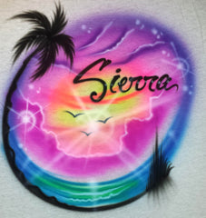 Airbrush Beach with Fancy Script Personalized Font