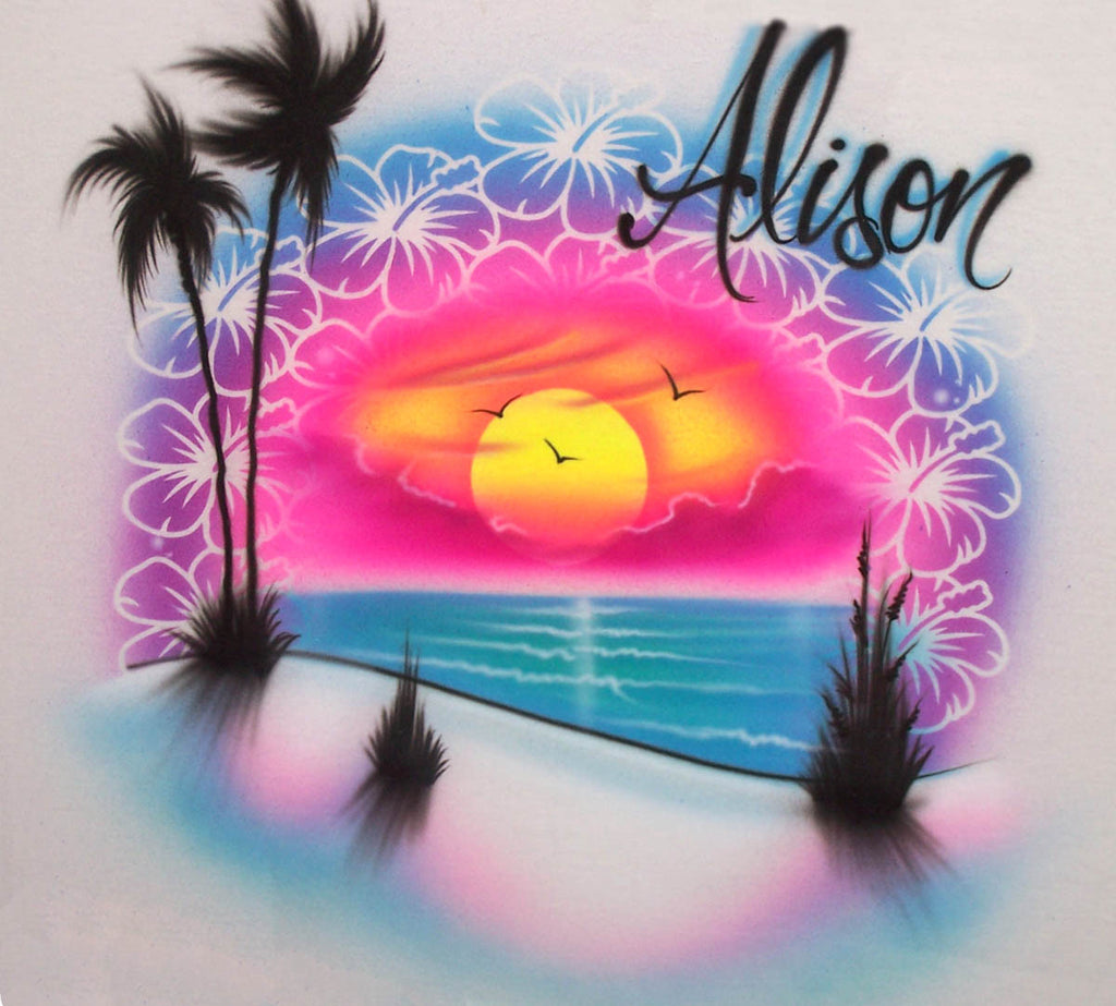 Beach Sunset & Flower Personalized Airbrush Design