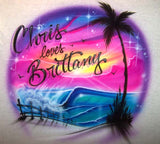 Airbrushed Beach scene with wave & couples design