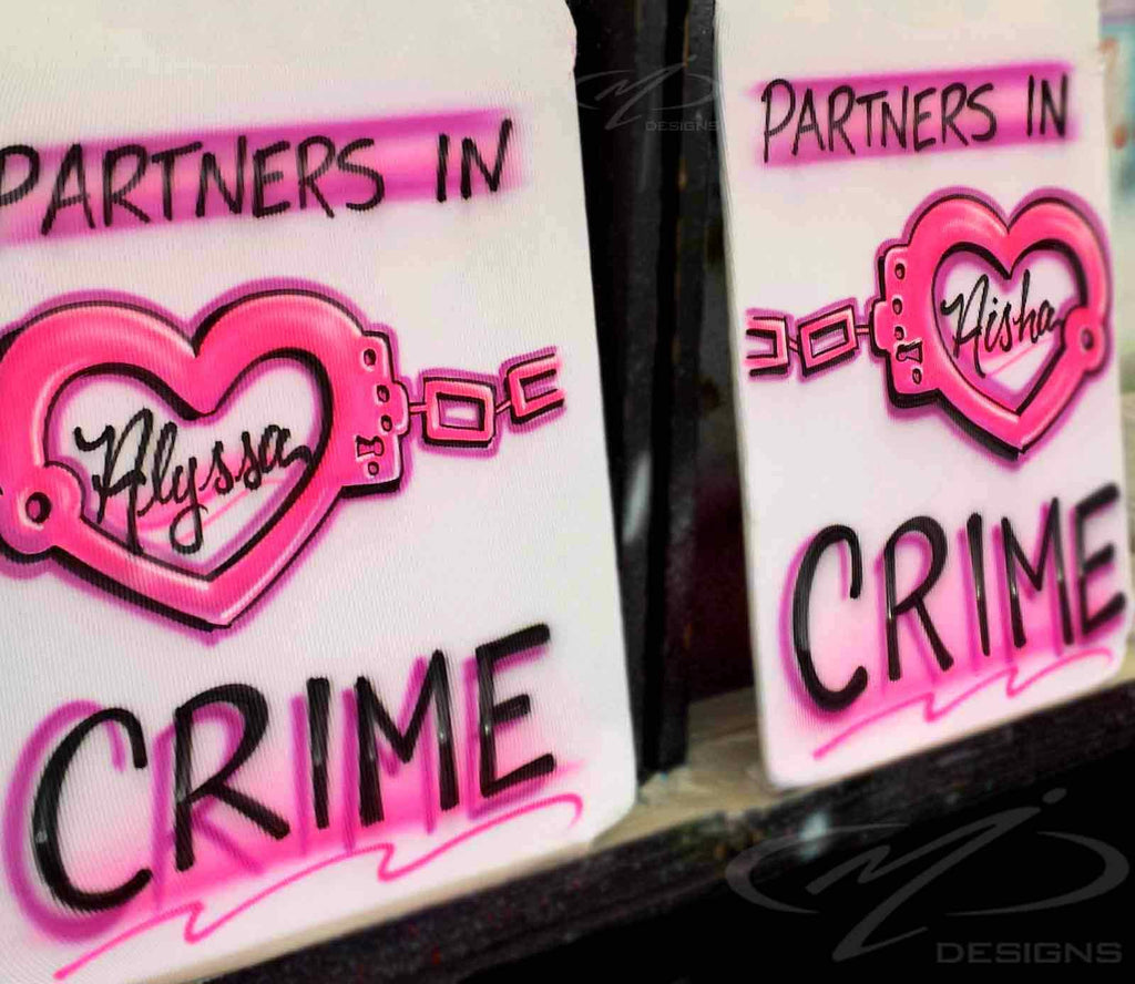Set of 2 Airbrushed Partners in Crime B.F.F Personalized Shirts