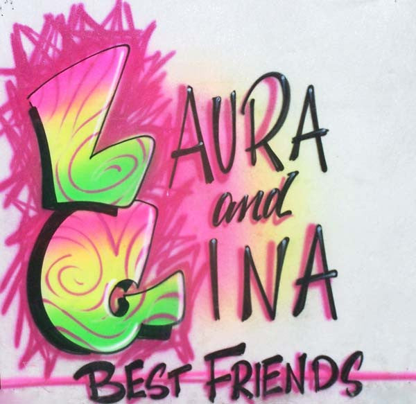 Best Friends Airbrushed Shirt Personalized Double Name Design
