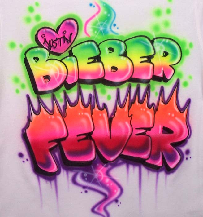 Justin Bieber Fever Airbrushed Shirt in Neon Colors & Flames