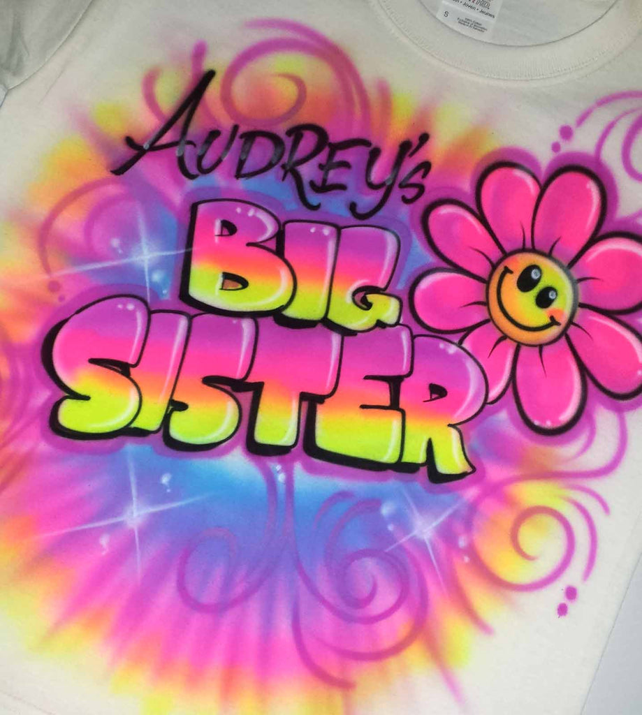 Big Sister Airbrushed Shirt with Flower & Tie Dye Style Design