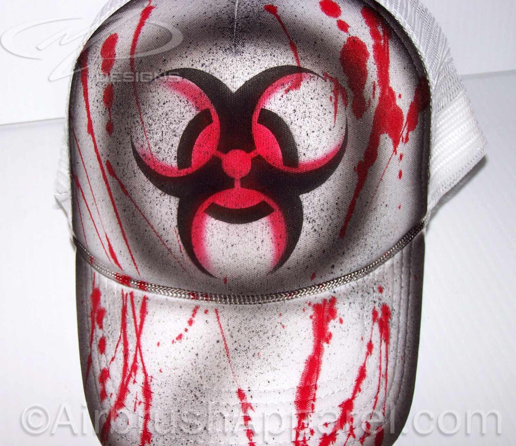 Bio Hazard Blood Splatter Airbrush Zombie Theme Full Cover Snap Back Trucker Hat