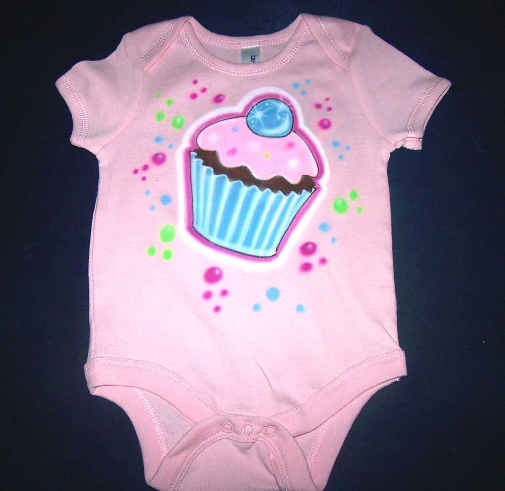 Airbrushed Birthday Cupcake Onesie With Name Age Added On Back