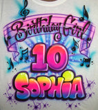 Birthday Girl and music notes airbrushed personalized T-shirt and sweatshirt