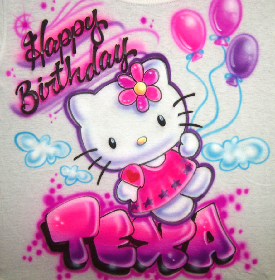 Hello Birthday Kitty & Balloons Personalized Airbrushed T-Shirt Or Sweatshirt