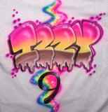Airbrushed Birthday Ice Cream Name Age on Back of Shirt