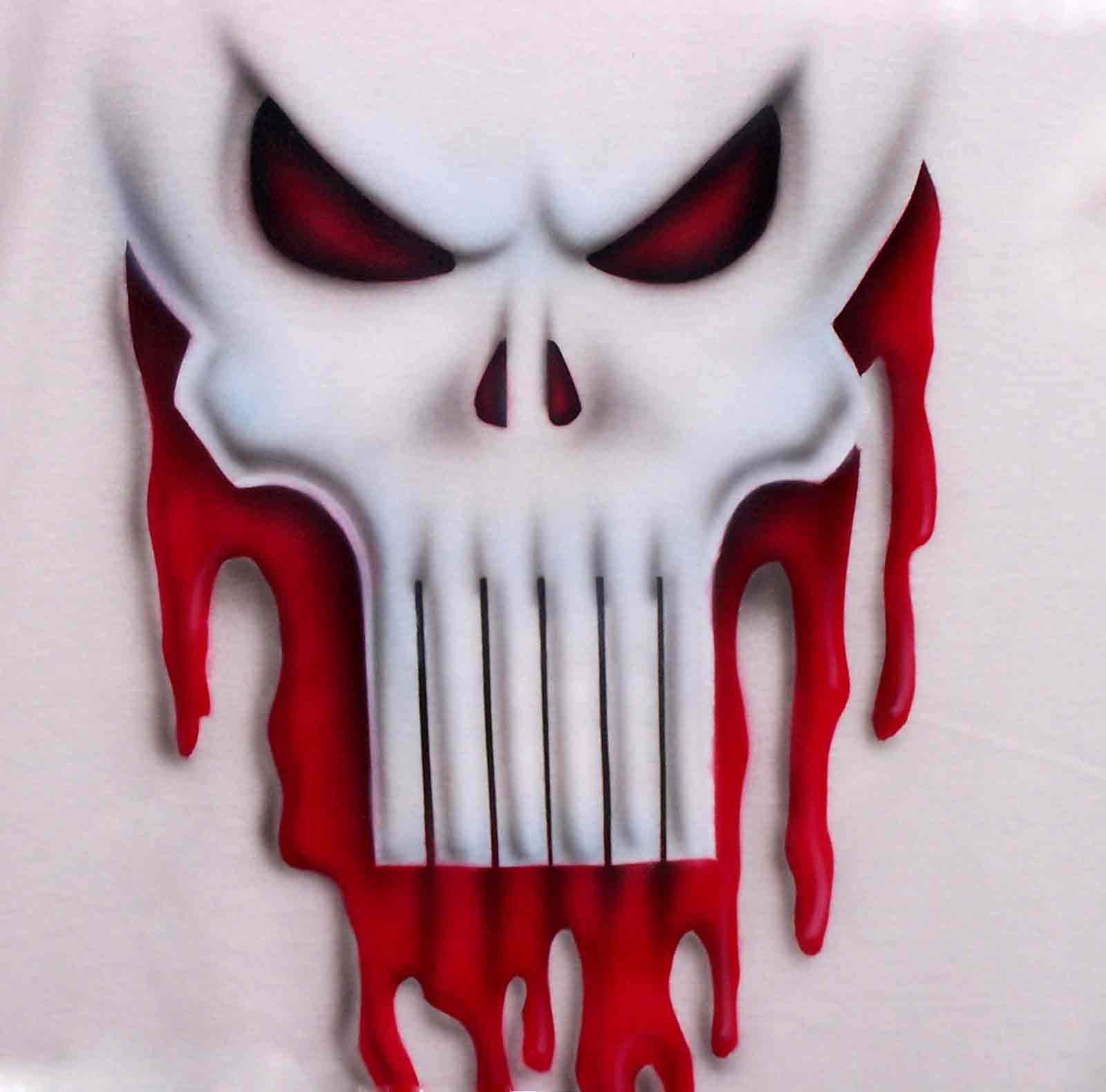 375449bee50b7 Airbrushed Punisher Ghost Skull with Blood Dripping