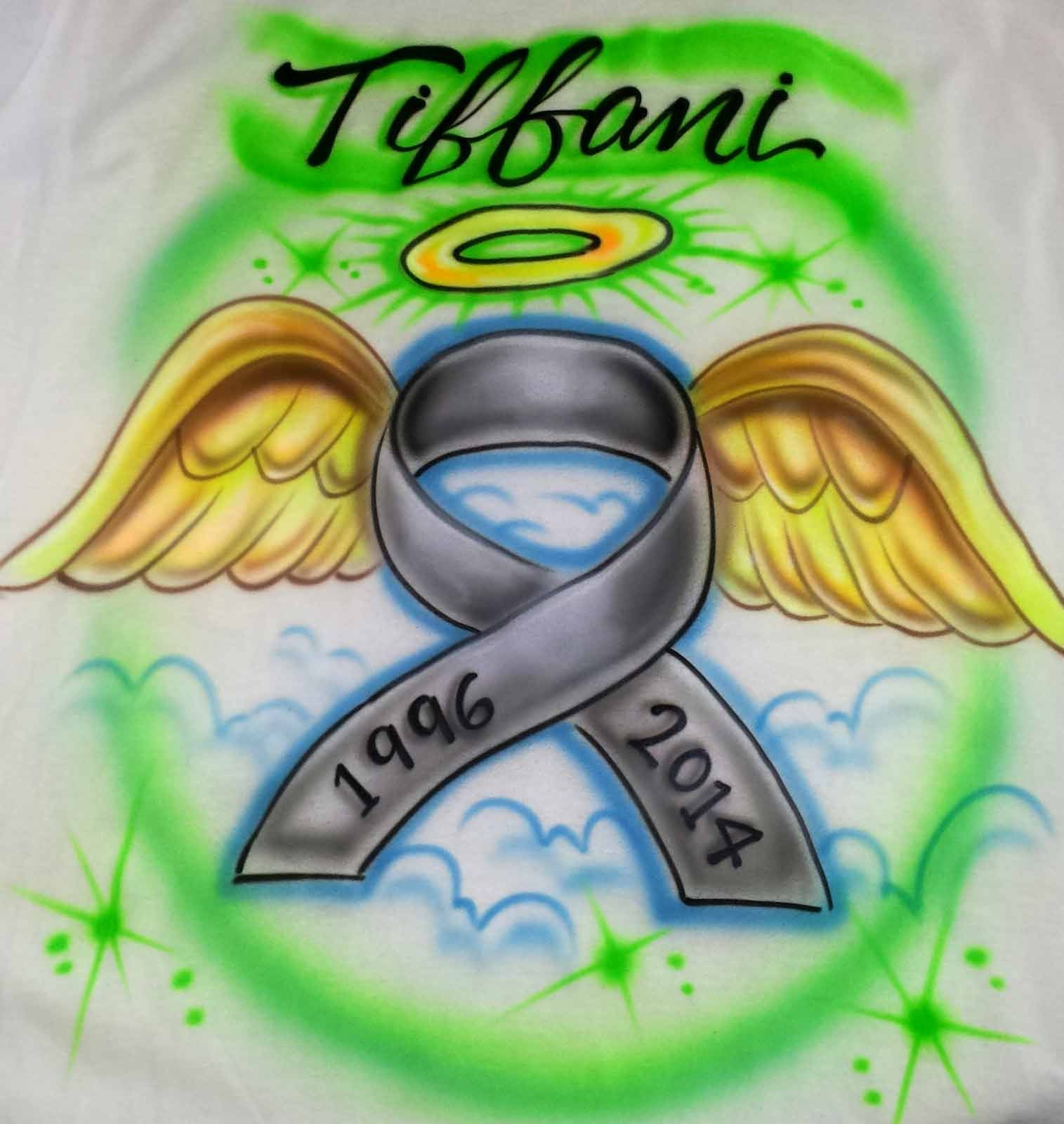 Cancer Ribbon Memorial airbrushed shirt