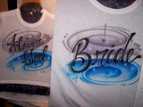 Bride and Flower Girl Airbrushed Wedding Party T-Shirt