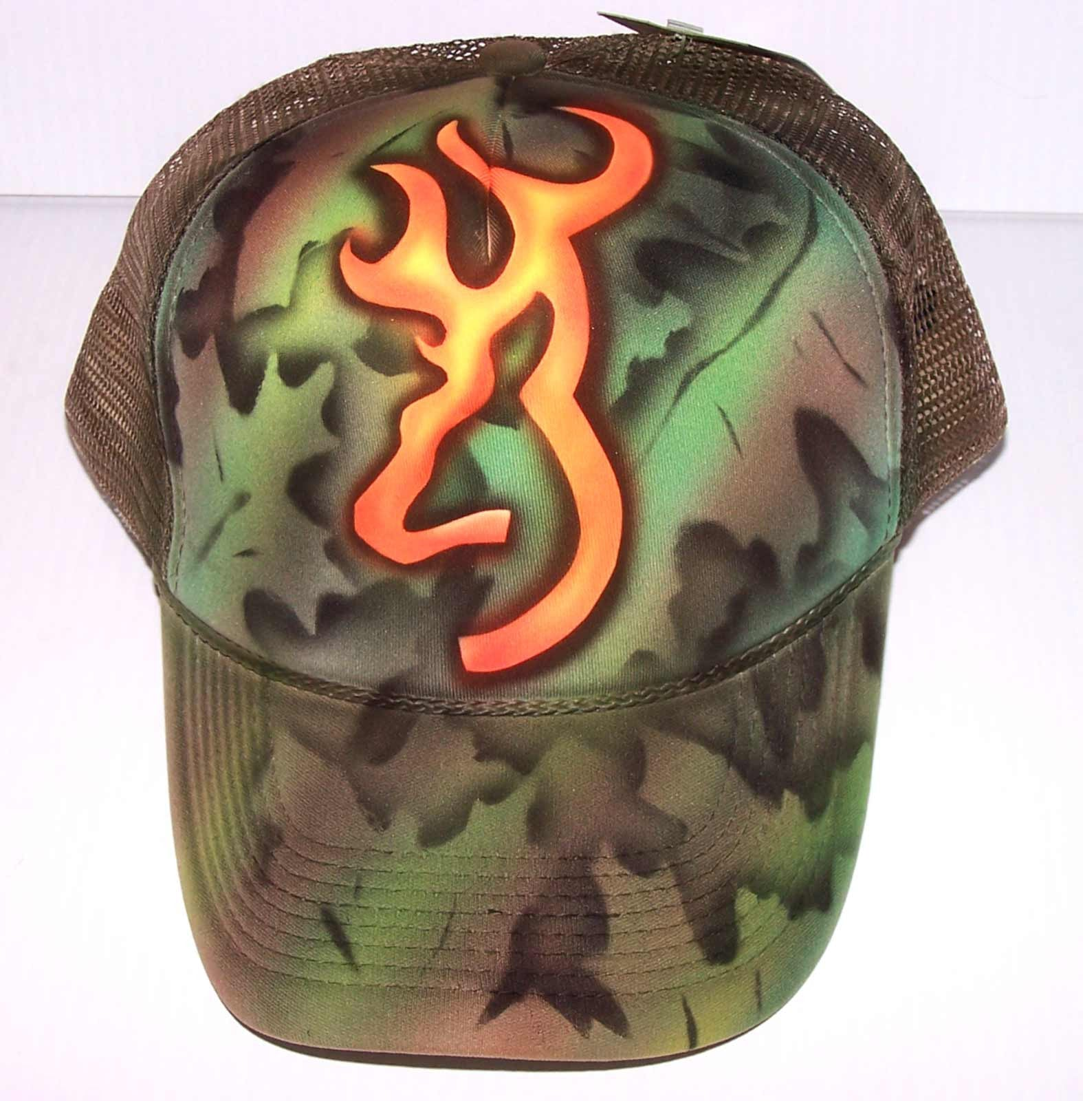 Browning Camouflage Custom Airbrushed Trucker Hat