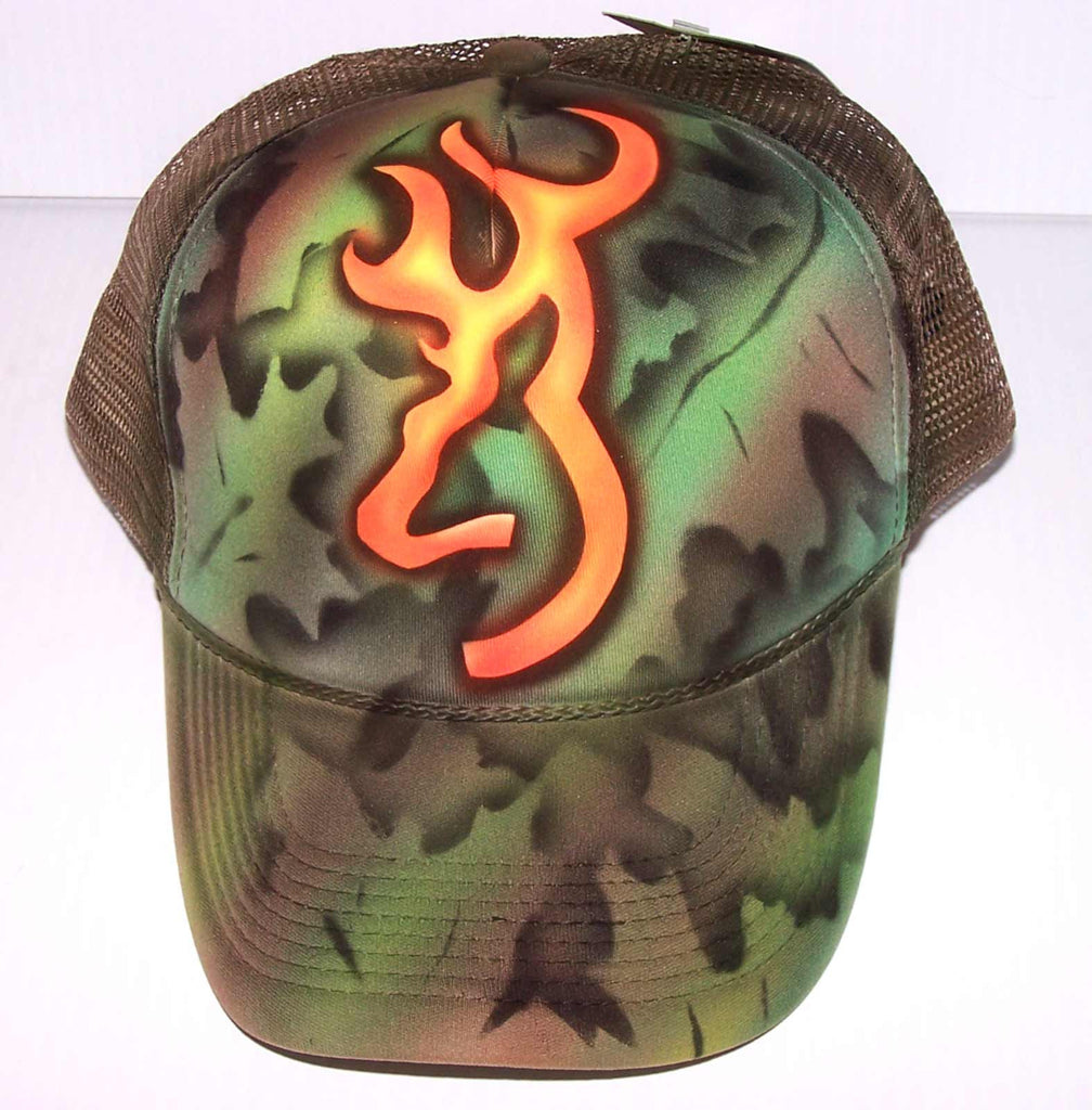 Full Cover Camo Browning Deer Symbol Airbrushed Trucker Hat
