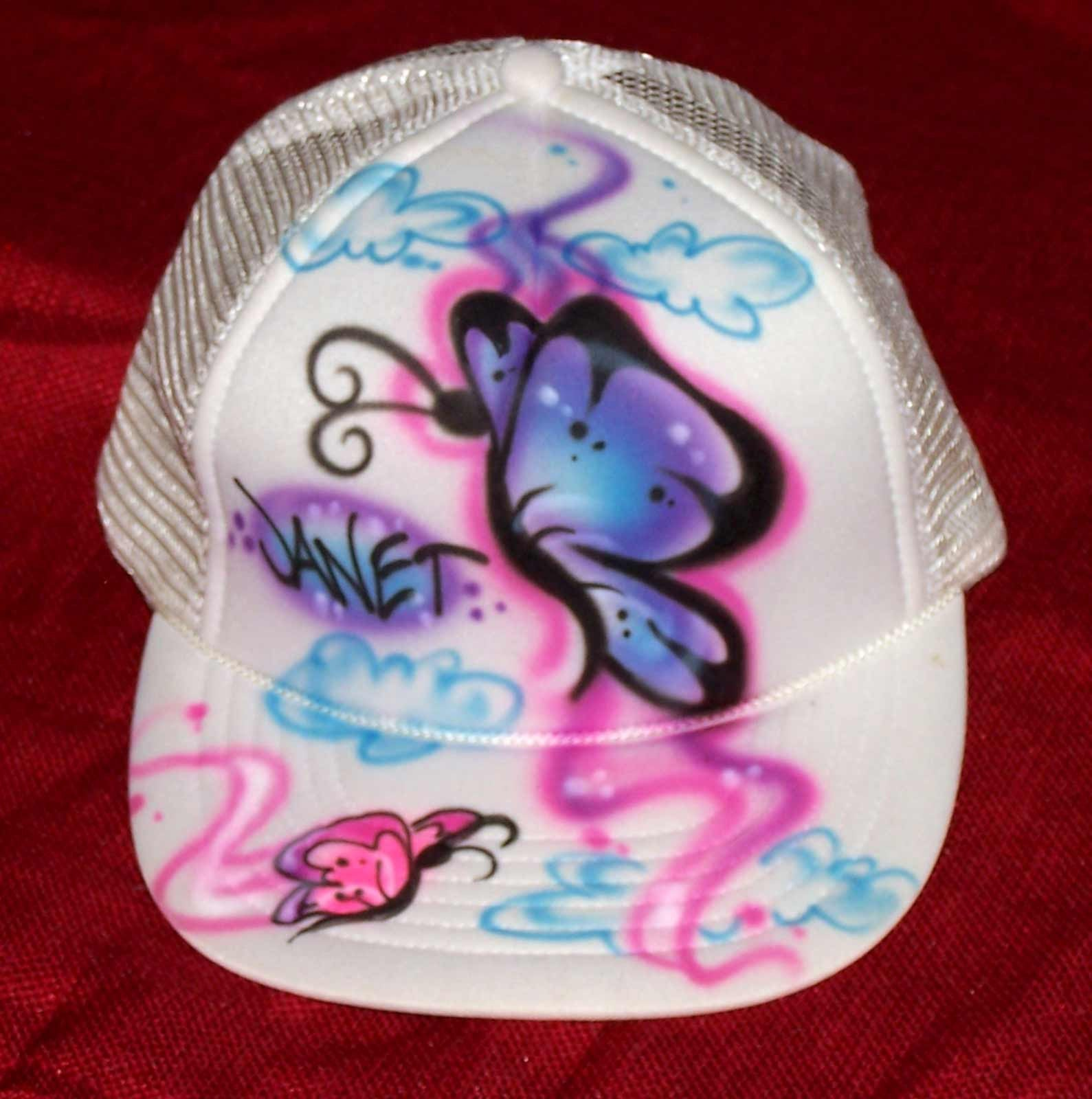 Personalized Snap Back Hat with Airbrushed Butterflies