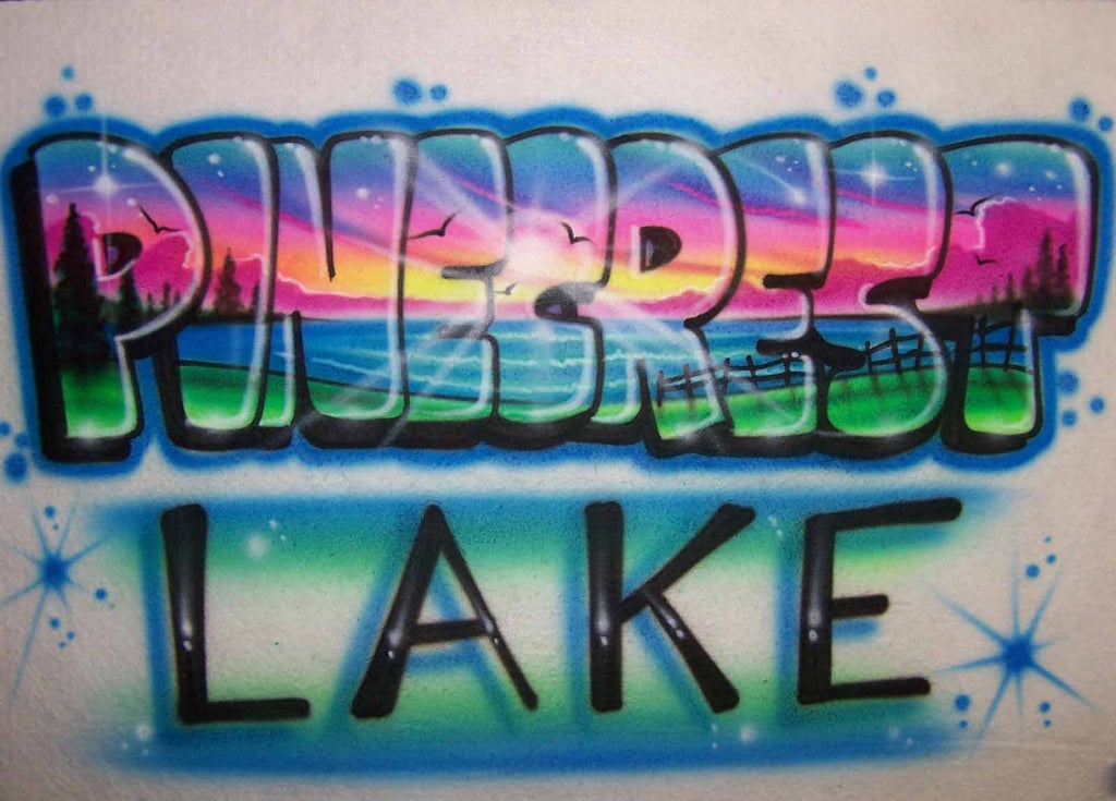 Colorful Lake Sunset Shirt Design with Any Camp or Vacation Name Airbrushed