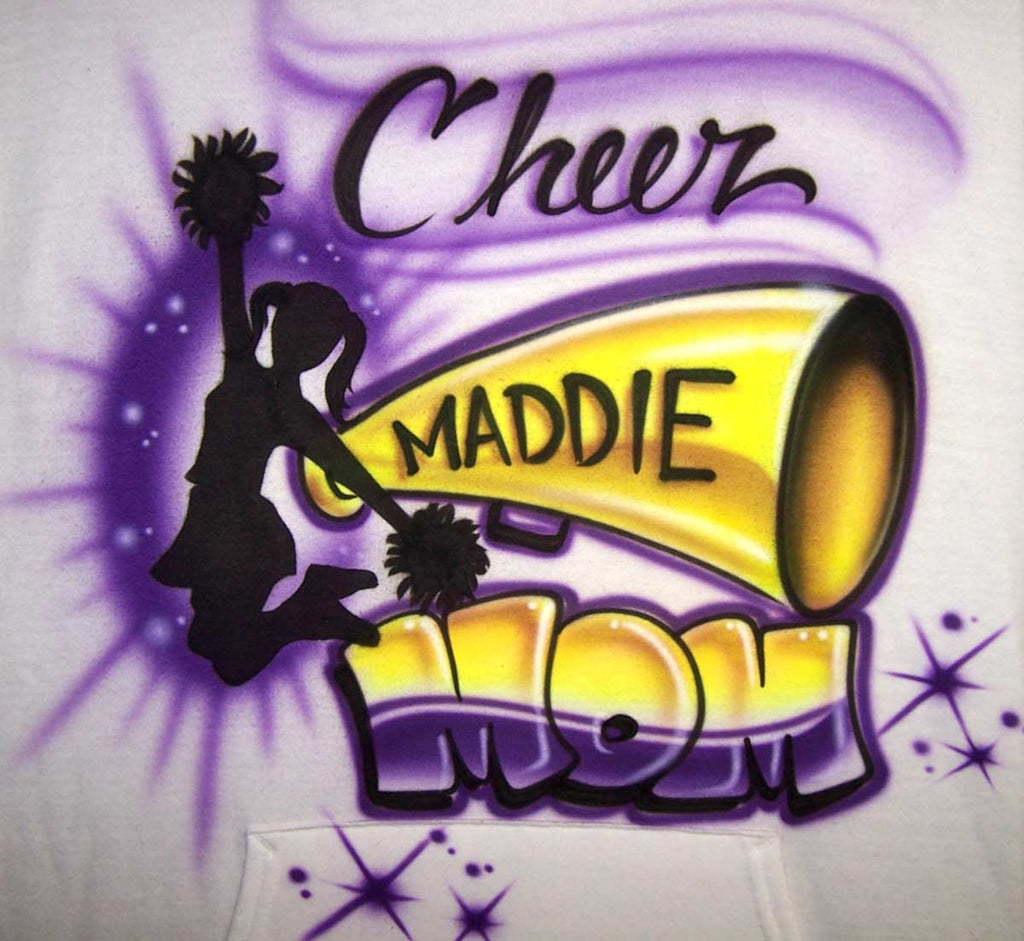 Cheer Mom Personalized Megaphone and Jumping Cheerleader Custom Shirt
