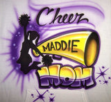 Cheer Mom Megaphone Cheerleader Airbrushed Shirt