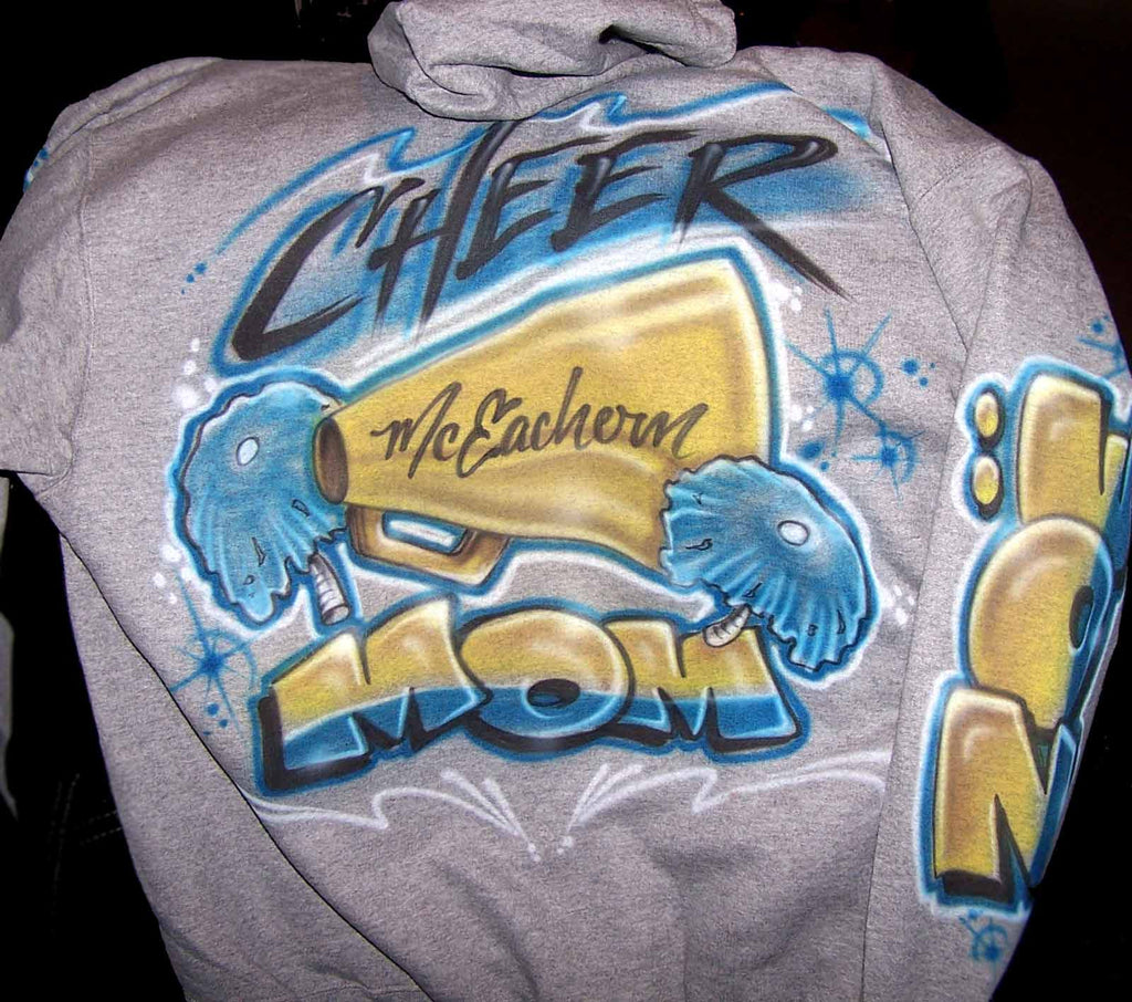 Cheer Mom Airbrushed Sweatshirt with Front Monogram & Name On Sleeve