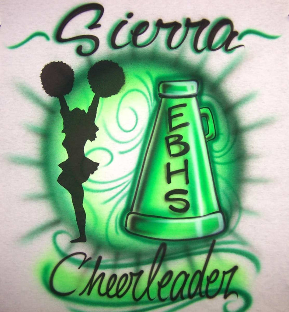 Airbrushed Cheerleader and Megaphone Personalized Tee or Sweat Shirt