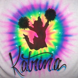 Tye Dye Jumping Cheerleader Airbrush Shirt