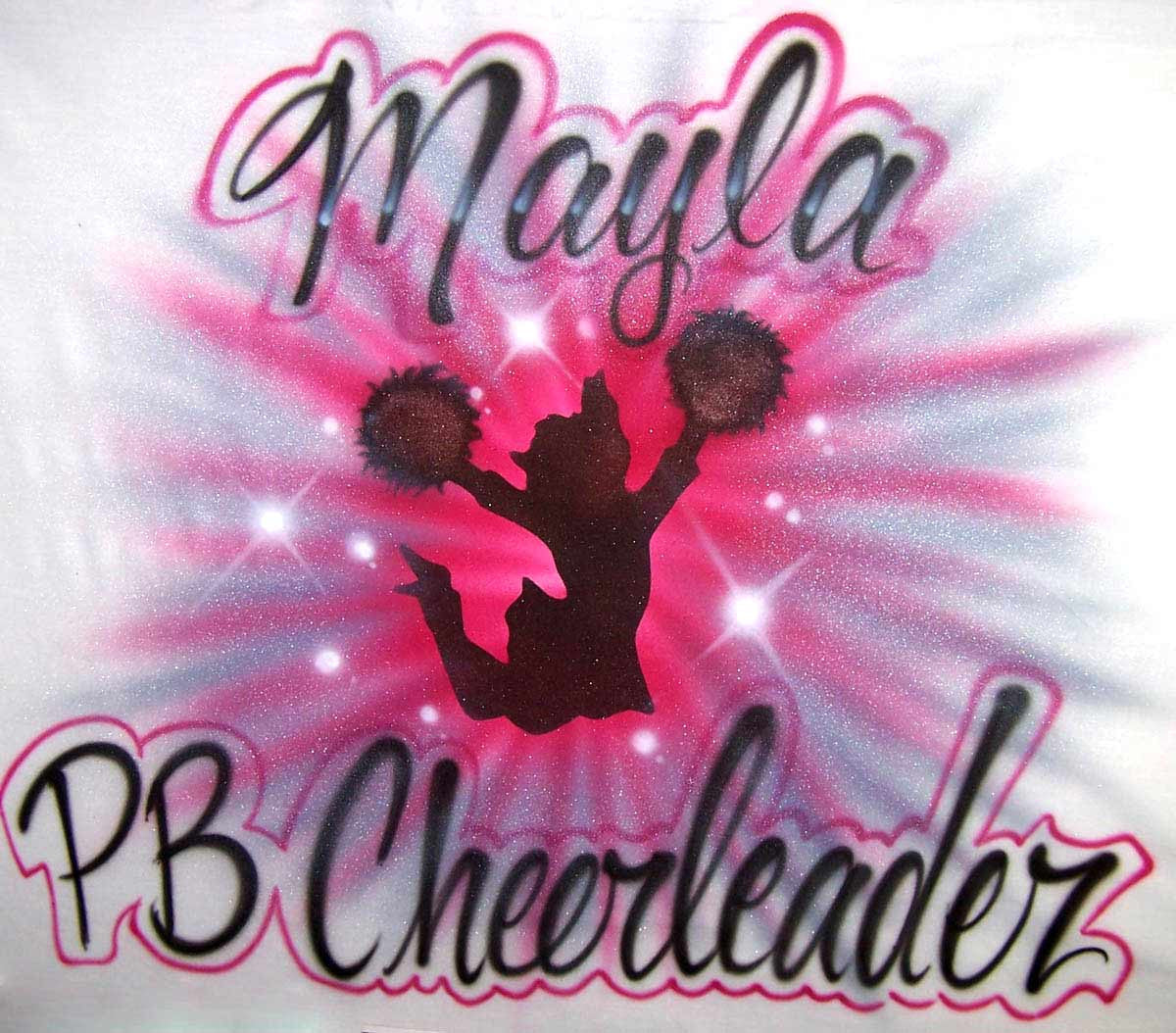 Tie Dye style airbrushed personalized cheerleader t-shirt sweatshirt