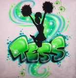 Cheerleader Jump Pom Pom's Airbrushed Personalized Shirt