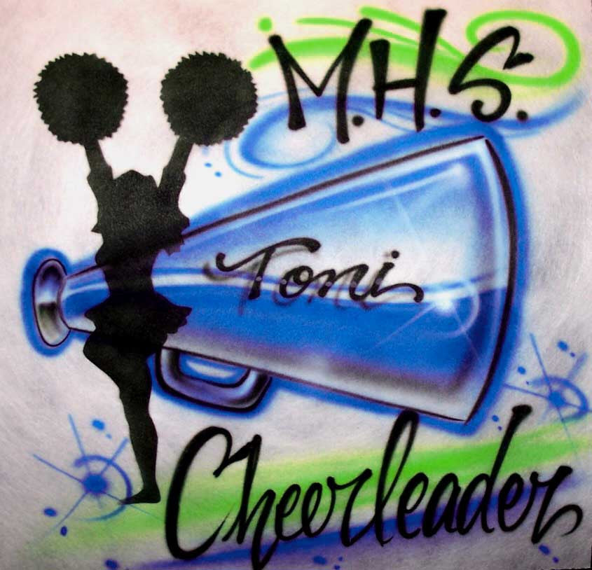 Airbrushed Cheerleader Megaphone Personalized Shirt