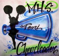 Cheerleader Megaphone school team personalized airbrushed t-shirt