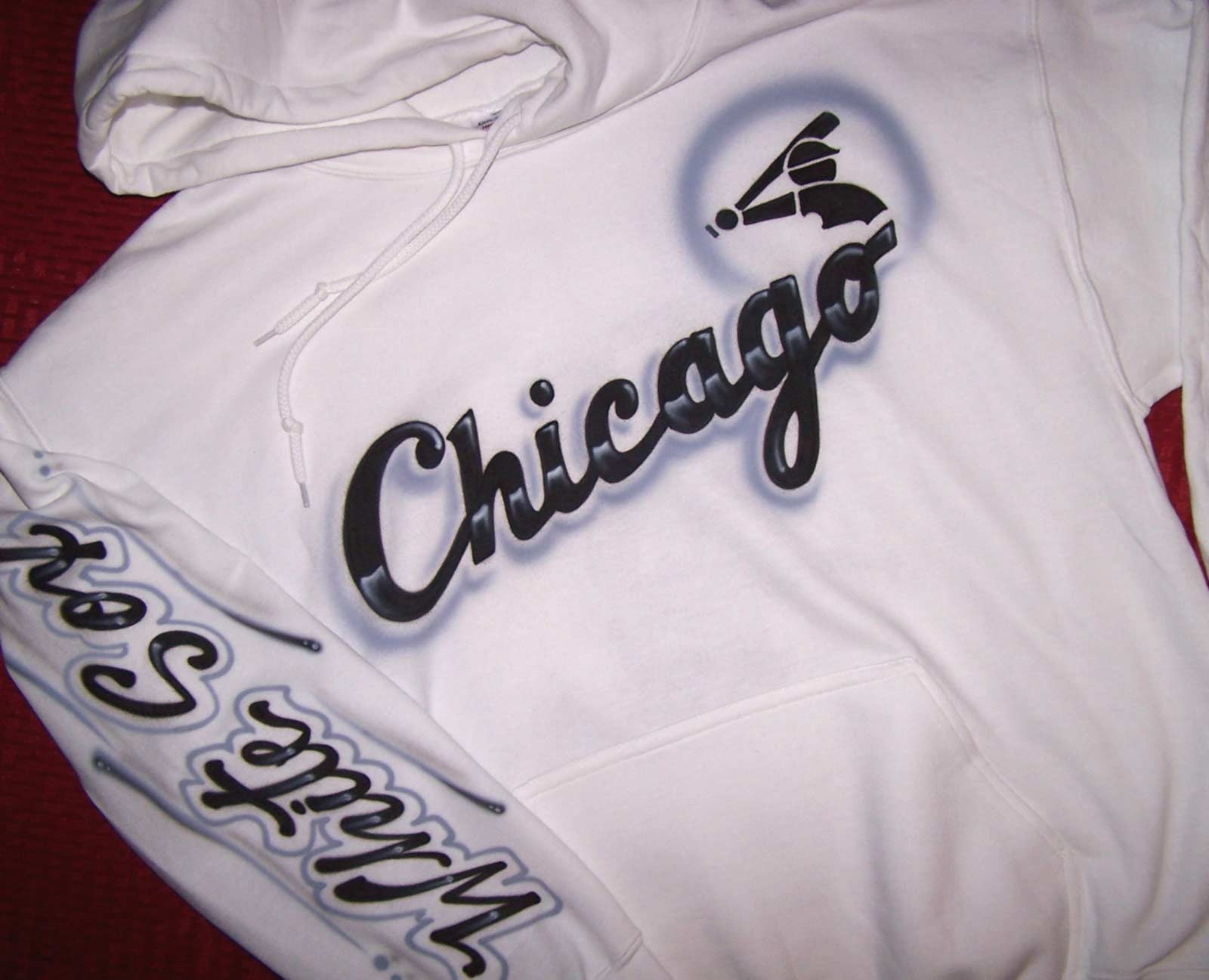 new style d60f3 3ccd4 Chicago White Sox Inspired Full Covered Airbrushed Sweatshirt or Hoodie